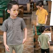 Стилна детска риза за момчета с къс ръкав в няколко цвята