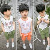 Ежедневен детски комплект за момчета в различни цветове с бродерия