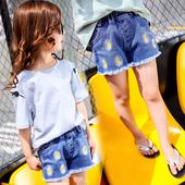 Къси детски панталони за момичета с висока талия и бродерия на цветя