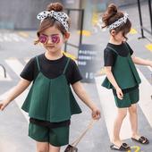 Красив детски комплект за момичета в тъмно зелен цвят