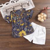 Летен детски комплект за момичета - блуза + панталонки