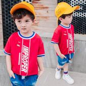 Ежедневна детска тениска за момчета с 3/4 ръкави с О-образна яка