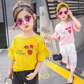 Лятна детска блуза за момичета с широки ръкави и бродерия