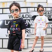 Ежедневен детски комплект за момичета с надпис - тениска + къси панталони