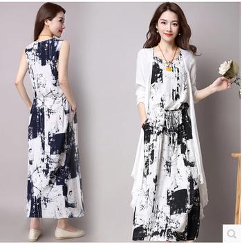Κομψό μακρύ καλοκαιρινό φόρεμα σε 2 αποχρώσεις