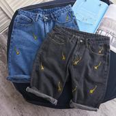 Стилни дънкови къси панталони за мъжете с бродерияя