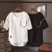 Тънка ленена блуза с О-образна яка, издължена отзад