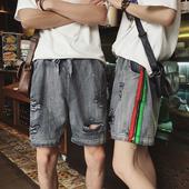 Интересен модел мъжки дънкови панталони с връзки и накъсани в сив цвят