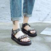 Много удобни дамски сандали с метална декорация в два цвята