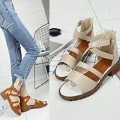 Кожени дамски сандали в два цвята, с лек ток