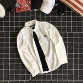 Мъжка риза в бял цвят с дълъг ръкав и бродерия