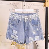 Ежедневни дамски къси панталони - накъсани и с декорация дантела
