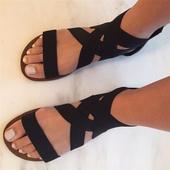 Интересни дамски сандали с връзки в римски стил - 2 цвята