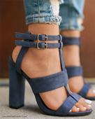 Дамски елегантни велурени сандали на висок ток с много стилна закопчалка около глезена