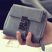 Мини дамски портфейл с метална декорация