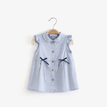 Сладка детска риза за момичета без ръкав с панделка