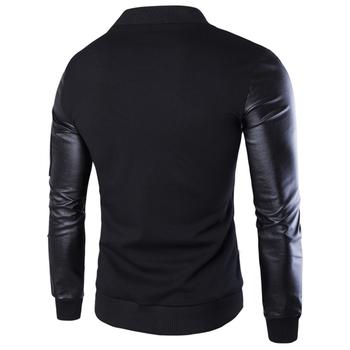 Σπορ-κομψό μπουφάν ι με δερμάτινα μανίκια σε μαύρο και γκρι χρώμα