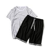 Мъжки спортен екип - тениска на райе и къси панталони с надпис