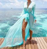 Много стилен и копринен дамски халат за плажуване в няколко цвята