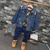Стилно детско дънково яке за момчета с дълъг ръкав и накъсано