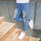 Стилни детски дънкови панталони с апликация с висока талия