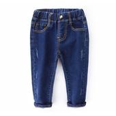 Дънкови панталони за момичета - ластични в тъмен цвят