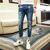 Актуални мъжки slim fit дънкови панталони с 7/8 крачол