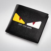 Много интересен мъжки кожен портфейл с шарен принт