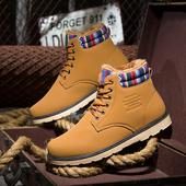 Много удобни и топли мъжки високи обувки с равна подметка - 3 цвята