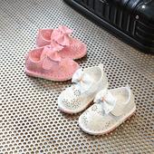 Нежни ежедневни обувки с лепенки и панделка, в розов и бял цвят