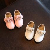 Нежни ежедневни обувки за момичета с декорация цветя в розов и бял цвят