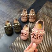 Стилни детски мокасини за момичета с декорация мъниста в три цвята