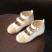 Стилни детски обувки за момичета с две каишки в бял и розов цвят