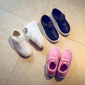 Спортни детски маратонки за момчета и момичета в розов, бял и черен цвят, с лепенки