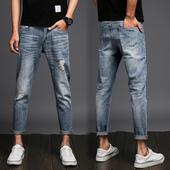 """Модерни и много актуални мъжки дънкови панталони модел """"slim fit"""" и крачол 7/8"""