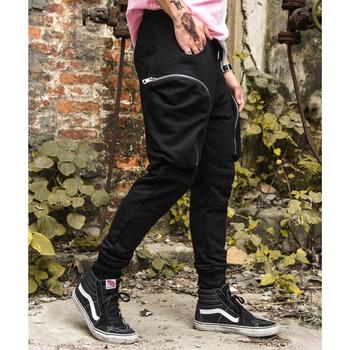 Спортен панталон за мъжете с джобове в сив и черен цвят