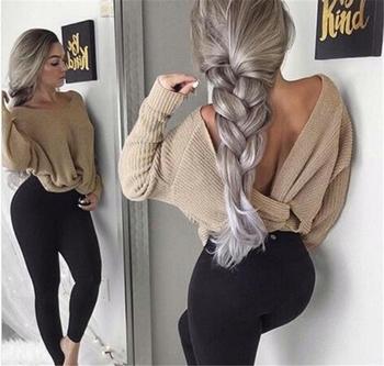 Много стилен дамски пуловер с падащо рамо и О-образно деколте