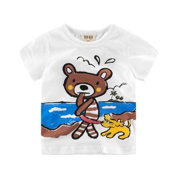 Детска тениска за момчета в бял цвял с изображение