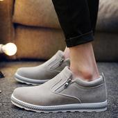 Велурени мъжки зимни топли обувки с цип в три различни цвята