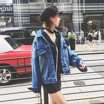 Много красиво дънково яке за дамите с изображение и надпис на гърба