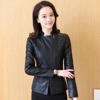 Дамско кожено яке в изчистен модел в черен цвят