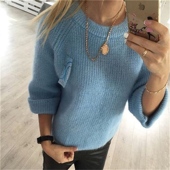 Стилен дамски вълнен пуловер с О-образна яка - 4 различни цвята
