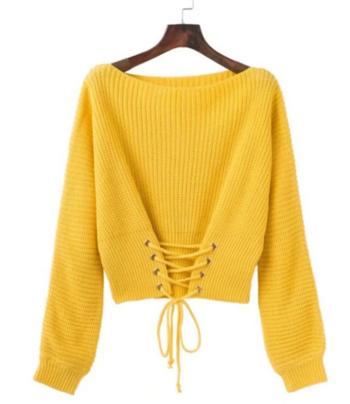 Дамски актуален пуловер с широка яка и много интересни връзки