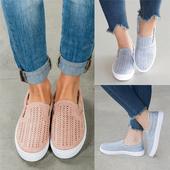 Дамски ежедневни обувки без връзки в бебешки розов и светлосин цвят