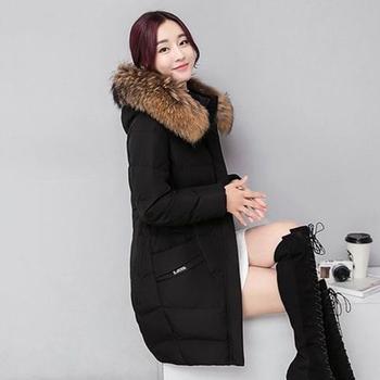 Дълго дамско яке за зимата с качулка и пух