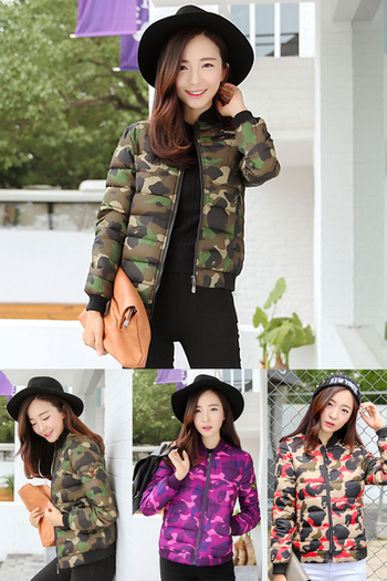 Късо камуфлажно яке за дамите в няколко цвята