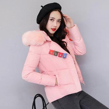 Χειμερινό γυναικείο μπουφάν σύντομο μοντέλο με κουκούλα και γούνα