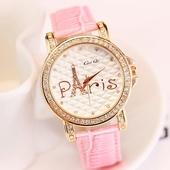 Сладък дамски часовник с илюстрирана Айфелова кула