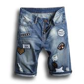 Мъжки дънкови къси панталони с апликации, подходящи за ежедневие