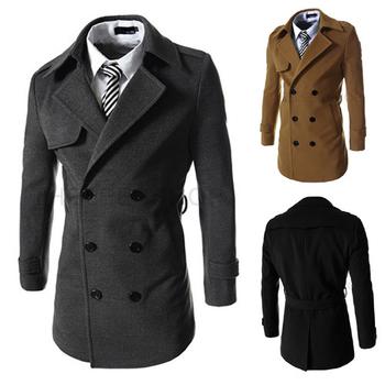 Κομψό και μακρύ ανδρικό παλτό με ζώνη σε τρία χρώματα - Badu.gr Ο ... aa43b43f479
